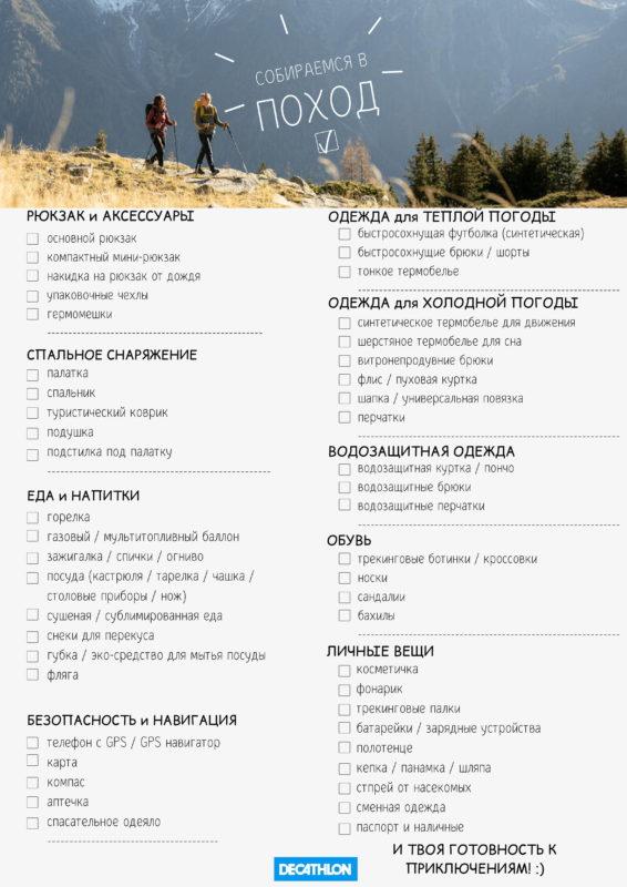 список вещей для похода